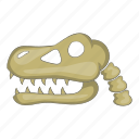 bone, cartoon, dinosaur, head, sign, skeleton, skull icon