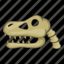 bone, cartoon, dinosaur, head, sign, skeleton, skull