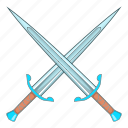 blade, cartoon, medieval, object, sign, sword, weapon icon