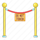 barricade, cartoon, gallery, museum, object, rope, sign icon