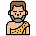 character, costume, cultures, man, primitive, stone, troglodyte icon
