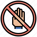 gestures, hand, hands, no, prohibition, security, touch icon