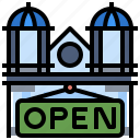 business, open, shop, sign, signal, signaling icon