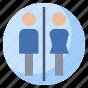 man, signaling, bathroom, woman, signs, toilets, restroom icon