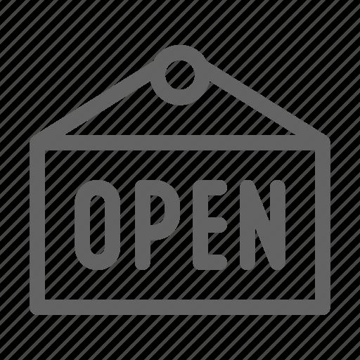 board, door, open, sign icon