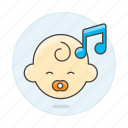3, baby, double, genre, lullaby, music, note, pacifier, playlist icon