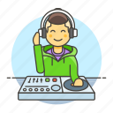 2, controller, dj, headphones, male, mix, mixer, music, system, turntable icon