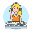 controller, dj, female, headphones, mix, mixer, music, system, turntable icon