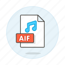 aif, audio, digital, file, format, music, note, sound icon
