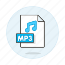 audio, digital, file, format, mp3, music, note, sound icon