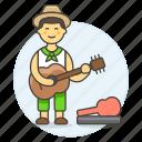 case, female, guitar, guitarist, hippie, music, musicians, open, player, street icon