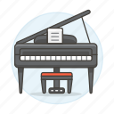 acoustic, instruments, keyboard, music, piano, string icon
