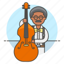 half, double, orchestra, bass, bassist, bowed, music, musicians, male, symphony icon