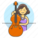 bass, bassist, bowed, double, female, half, music, musicians, orchestra, symphony icon