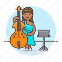 bass, bassist, double, female, full, music, musicians, orchestra, symphony icon