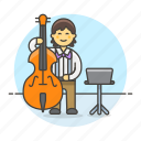 bass, bassist, double, full, male, music, musicians, orchestra, symphony icon