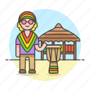 drum, music, djembe, male, musicians, show, hut, reggae, jembe, jamaica icon
