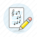 1, cleff, composition, music, musical, notation, note, pencil, sheet, treble icon