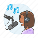 female, headset, microphone, music, record, recording, singer, song, sound, studio, vocalist