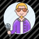 1, artist, half, male, microphone, music, musicians, singer, single, vocalist icon
