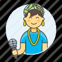 artist, female, half, microphone, music, musicians, singer, single, vocalist icon