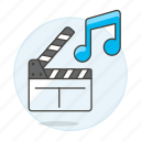 clapperboard, double, genre, movie, music, note, ost, soundtrack icon
