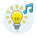1, bulb, concentration, double, genre, light, music, note, playlist, study icon