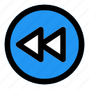 rewind, circle, music, filled, line, f