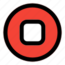 stop, circle, music, filled, line, f