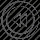 multimedia, rewind, direction arrow, left arrow, reverse arrow, media button icon