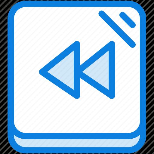 back, blue, icons, light, media, multimedia, music, rewind icon