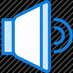 blue, icons, light, loud, music, speaker, volume icon