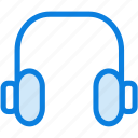 blue, headphones, icons, light, loud, music, sound icon