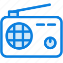 audio, blue, icons, light, music, radio, sound, technology icon