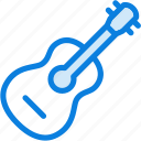 acoustic, blue, guitar, icons, instrument, light, melody, music, musician icon