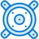 audio, blue, icons, light, loudspeaker, music, sound, speaker, woofers icon