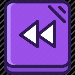 back, colored, icons, media, multi, music, rewind icon