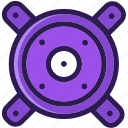 colored, loud, loudspeaker, multi, music, sound, speaker, woofers icon