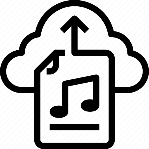 arrow, cloud, download, file, media, multimedia, music icon