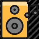 speakers, note