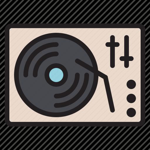 audio, dj, instrument, music, sound, turntable, vinyl icon