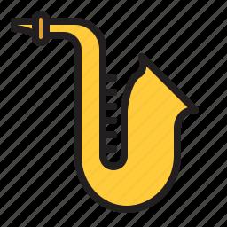 audio, instrument, music, sax, saxophone, sound, wind icon