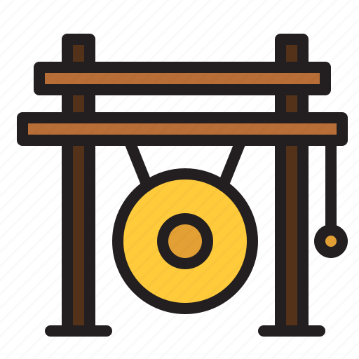 audio, gong, instrument, music, percussion, sound icon