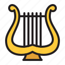 audio, harp, instrument, music, sound, stringed icon