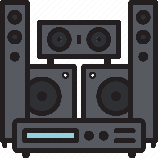audio, home, music, sound, surround, system, theater icon
