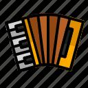 accordion, audio, instrument, music, sound icon