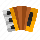 accordion, audio, instrument, music, sound icon