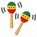 instrument, maracas, music, musical icon