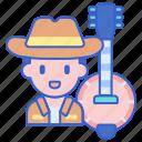 banjo, folk, music, singer icon