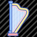 audio, harp, instrument, music icon
